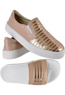 Kit Tênis Emanuelly Shoes Slip On + Chinelo Feminino - Feminino-Rosa+Branco