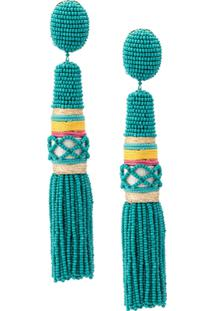 Oscar De La Renta Beaded Fringe Earrings - Azul