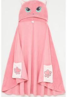 Roupão Cobertor Infantil Em Fleece Com Capuz De Gatinha - Tam Único