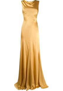 Alberta Ferretti Vestido Longo Drapeado - Amarelo