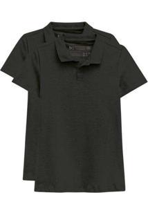 Kit De 2 Camisas Polo Femininas Preto
