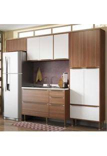 Cozinha Compacta Multimóveis Com 4 Peças Calábria 5458 Nogueira/Branco