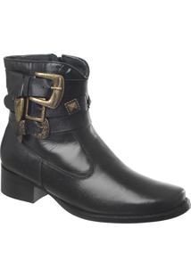 Ankle Boot Em Couro Preto Com Fivelas Tamanho Especial