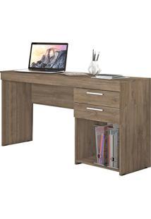 Mesa Para Computador Notável Office 2 Gavetas Canela