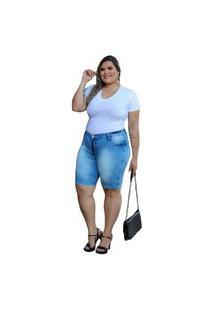 Bermuda Jeans Com Licra Plus Size Feminina Azul Claro