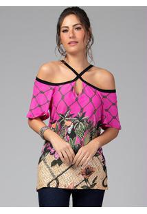 Blusa Com Decote Em X Tropical Pink
