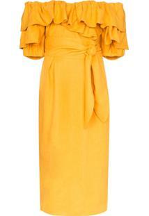 Mara Hoffman Vestido Ombro A Ombro Arabella Com Babados - Amarelo