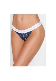 Calcinha Calvin Klein Underwear Tanga Logo Azul-Marinho