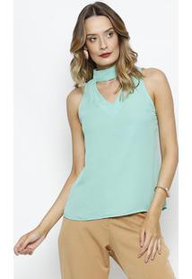 Blusa Com Recorte Vazado - Verde ÁGualinho Fino