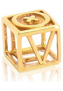 Pingente De Ouro 18K Separador Quadrado Vazado Love