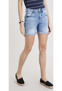 Bermuda Jeans Feminina Com Barra Dobrada Azul Claro
