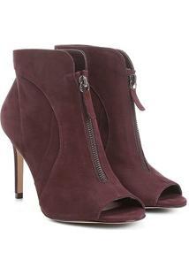 Ankle Boot Couro Shoestock Salto Fino Zíper