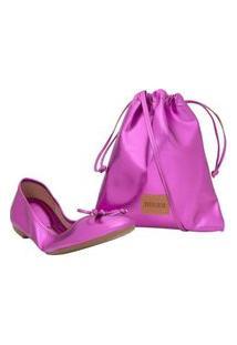Sapatilha Metalizada Pink Com Bolsa Santa Lolla