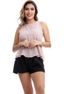 Blusa Clara Arruda Costa Detalhe 20471 Feminina - Feminino-Nude