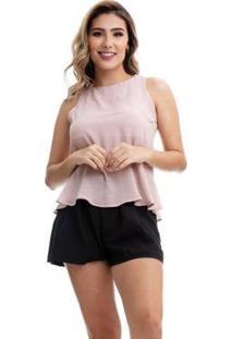 Blusa Clara Arruda Costa Detalhe Feminina - Feminino-Nude