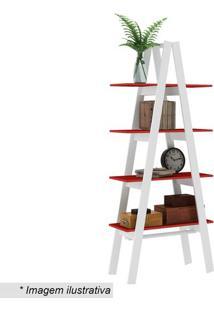 Estante Escada- Branca & Vermelha- 180,4X77X33Cmmovel Bento