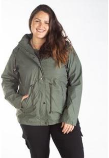 Jaqueta Parka Feminina Plus Size Capuz Bolso Zíper - Feminino-Verde Escuro