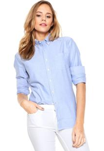 Camisa Mng Barcelona Oxford Azul