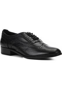Oxford Couro Shoestock Brogues Feminino - Feminino-Preto