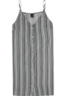 Vestido Cinza Listrado Fio Tinto