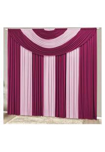 Cortina Com Bandô Suprema Em Malha Gel 4,00M X 2,80M Para Varáo Simples - Pink Com Rosa