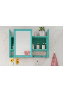 Espelheira / Gabinete Com Espelho Para Banheiro - Armário Aéreo Com Espelho Aquiles - Cor Azul - 60X86 Cm