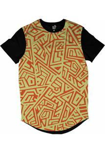 Camiseta Longline Long Beach Arabescos Tiki 2 Sublimada Amarelo