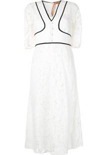 Nº21 Vestido Com Recorte De Renda - Branco