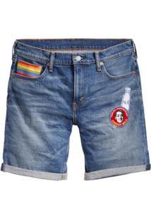 Bermuda Jeans Levis 511 Slim Cut Off Pride - Masculino-Azul