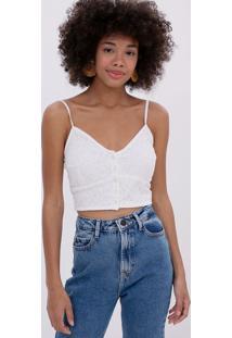 Blusa Cropped Com Bordado E Botões