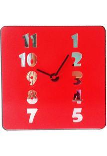 Relógio De Parede Em Madeira Mdf Laminado Vermelho Com Números Espelhados Amarelo