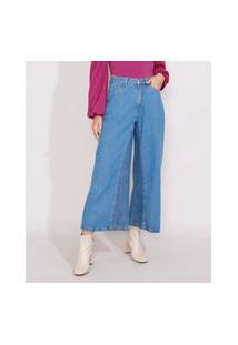 Calça Jeans Feminina Pantacourt Wide Cintura Super Alta Com Recorte Azul Médio