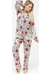 Pijama Acetinado Com Botãµes- Nude & Vermelho- Fruit Fruit De La Passion