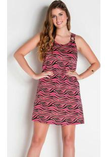 Vestido De Alças Com Fivela Zebra Colorida