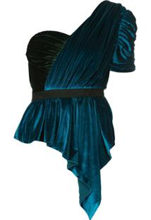 Self-Portrait Blusa De Veludo Assimétrica - Azul
