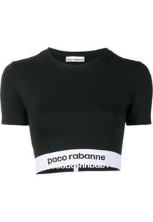 Paco Rabanne Blusa Cropped Com Estampa De Logo - Preto