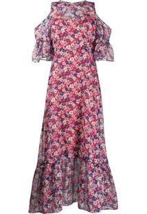 Twin-Set Vestido Longo De Chiffon Com Estampa Floral - Azul