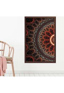 Quadro Love Decor Com Moldura Abstrato Circulos Madeira Escura Médio