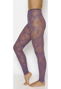 Meia Calça Legging Em Renda- Roxa- Fio 30Trifil