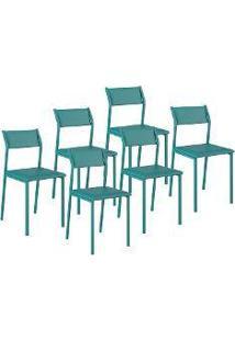 Cadeira Opaque 6 Peças Turquesa - Carraro