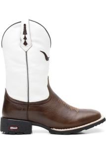Bota Texana Branco Com Pitstop Bico Quadrado 02145 - Masculino