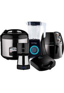 Conjunto Fritadeira, Sanduicheira, Panela Elétrica, Cafeteira E Liquidificador Be Black 127V Cadence Preto