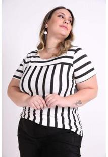 Blusa Kaue Plus Size Listrada Com Recorte Feminina - Feminino-Off White
