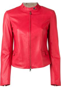 Emporio Armani Fitted Leather Jacket - Vermelho