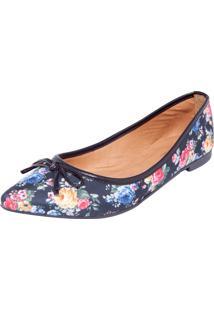 Sapatilha Dafiti Shoes Floral Preta