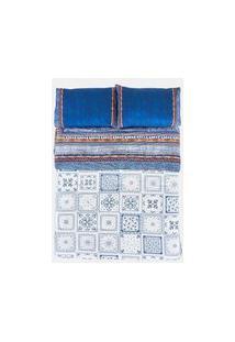 Edredom Estampado Azulejo - Multicolorido - U