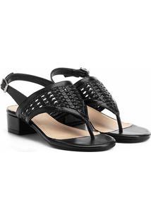 Sandália Shoestock Salto Grosso Tressê Feminina - Feminino-Preto