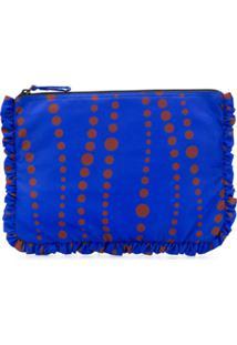 La Doublej Clutch Estampada Oversized Com Zíper - Azul