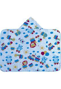 Toalha De Banho Infantil Com Capuz -Safari - Azul