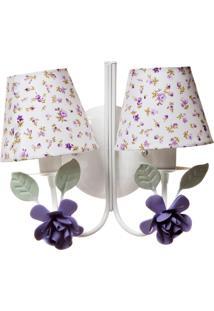 Arandela 2 Lâmpadas Flores Quarto Bebê Infantil Potinho De Mel Lilás